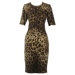 Dolce & Gabbana Leopard Print Cashmere Blend Dress
