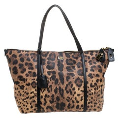 Dolce & Gabbana Leopard Print Coated Canvas and Leather Miss Escape Tote