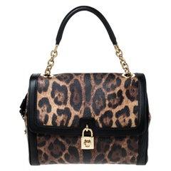 Dolce & Gabbana Leopard Print Coated Canvas Padlock Shoulder Bag