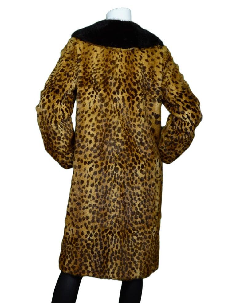 Brown Dolce & Gabbana Leopard Print Fox Fur Coat Sz L