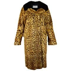 Dolce & Gabbana Leopard Print Fox Fur Coat Sz L
