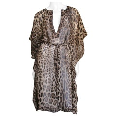 Dolce & Gabbana Leopard Print Silk Caftan Dress