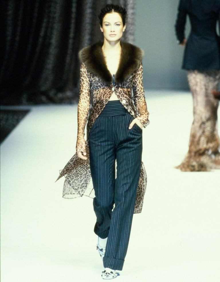 Dolce & Gabbana brown leopard print evening coat with mink fur collar and large logo engraved buttons.  Spring-Summer 1997