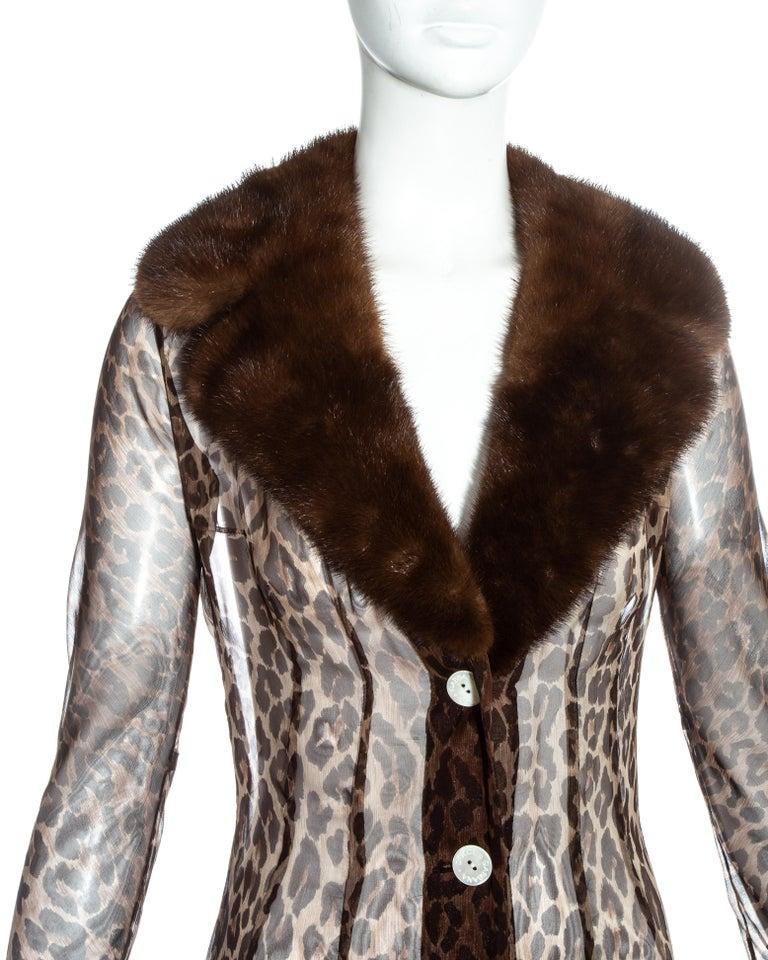 Women's Dolce & Gabbana leopard print silk chiffon coat with mink fur collar, ss 1997 For Sale