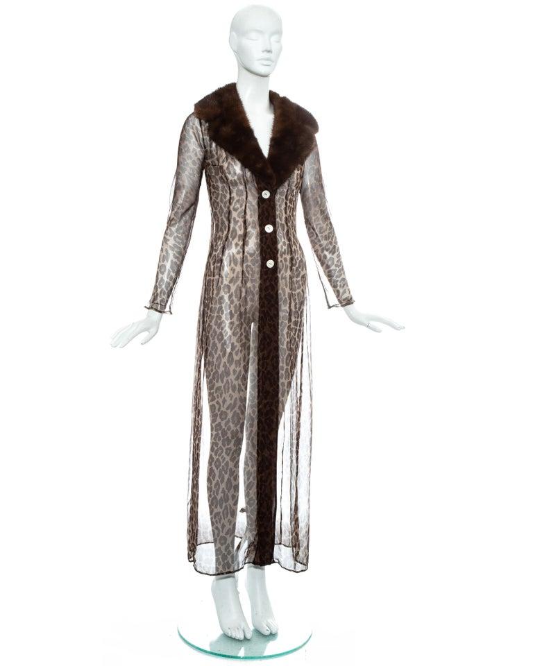 Dolce & Gabbana leopard print silk chiffon coat with mink fur collar, ss 1997 For Sale 1