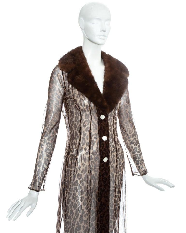 Dolce & Gabbana leopard print silk chiffon coat with mink fur collar, ss 1997 For Sale 2