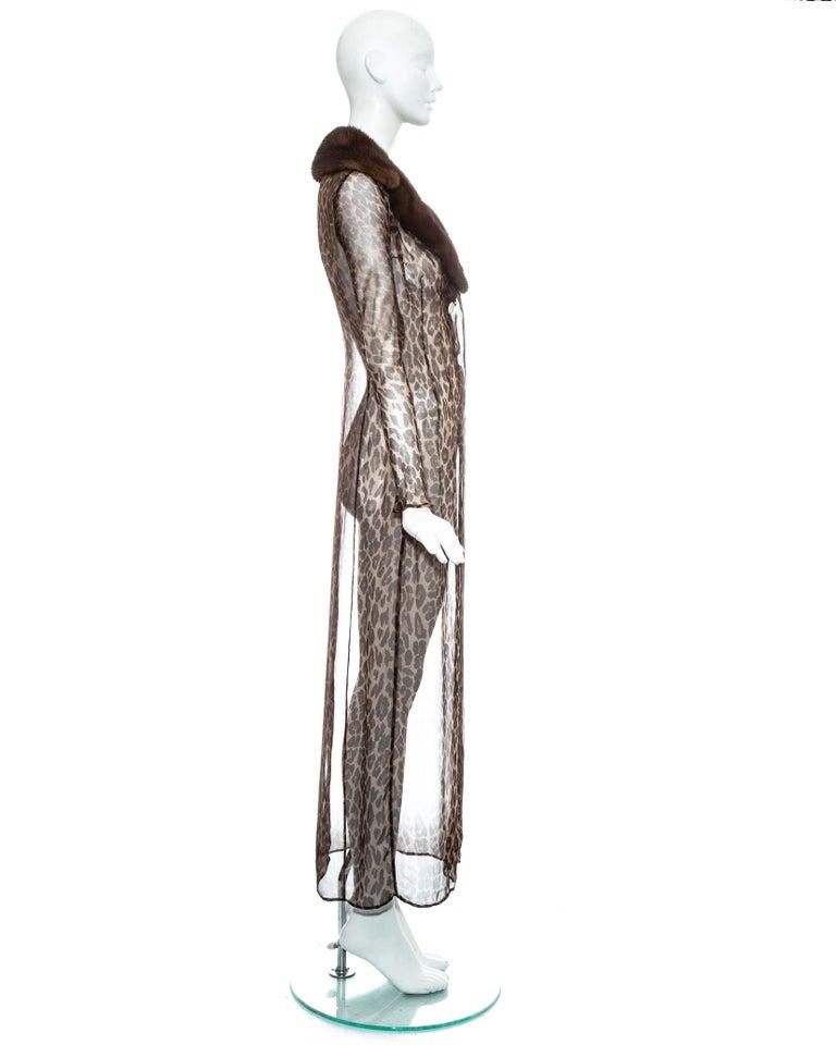 Dolce & Gabbana leopard print silk chiffon coat with mink fur collar, ss 1997 For Sale 3
