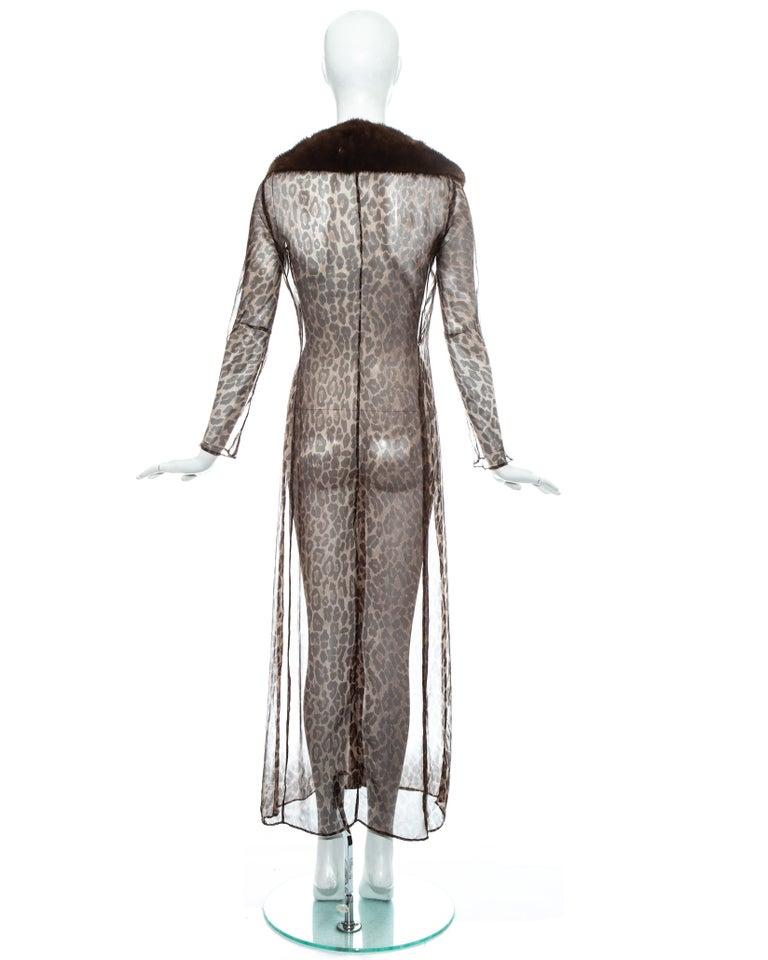 Dolce & Gabbana leopard print silk chiffon coat with mink fur collar, ss 1997 For Sale 4