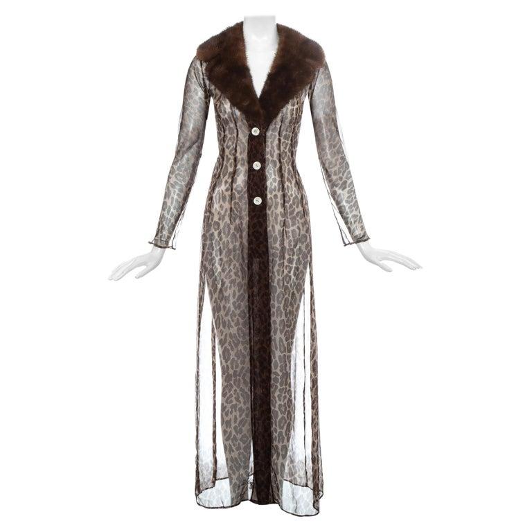 Dolce & Gabbana leopard print silk chiffon coat with mink fur collar, ss 1997 For Sale