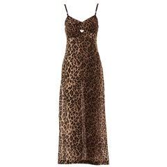 Dolce & Gabbana leopard print silk chiffon evening slip dress, ss 1997