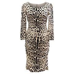 Dolce & Gabbana Leopard Print Silk Dress - Size US 4