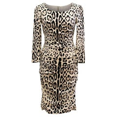 Dolce & Gabbana Leopard Print Silk Dress US 4