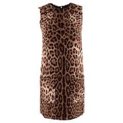 Dolce & Gabbana Leopard Print Sleeveless Shift Dress - Size US 0
