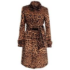 Dolce & Gabbana Leopard Printed Velvet Trench Coat 44 - 8