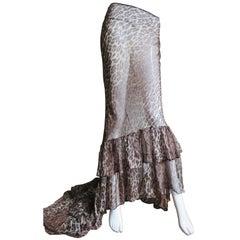 Dolce & Gabbana Leopard Silk Skirt with Train