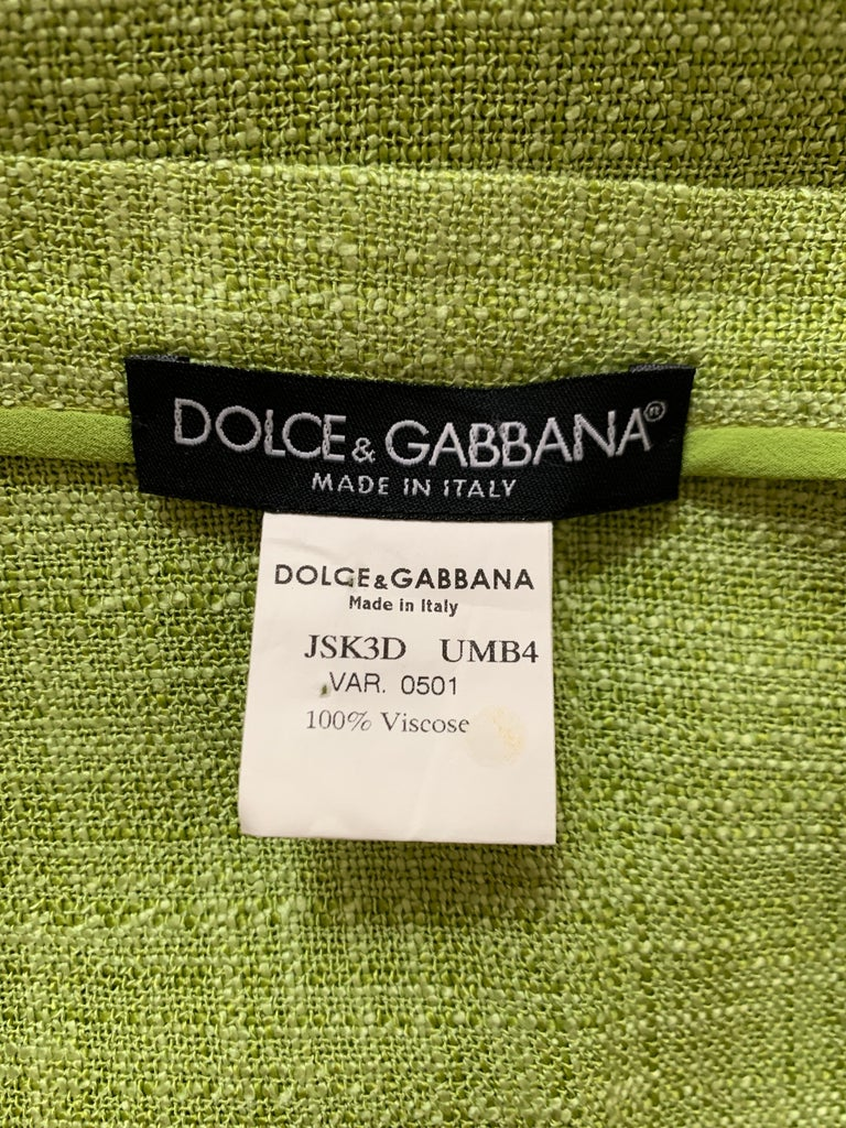 Dolce & Gabbana Lime Green Flared Pencil Skirt with Yellow Lace Accents For Sale 2