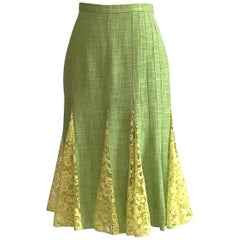 Dolce & Gabbana Lime Green Flared Pencil Skirt with Yellow Lace Accents