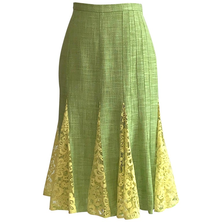 Dolce & Gabbana Lime Green Flared Pencil Skirt with Yellow Lace Accents For Sale
