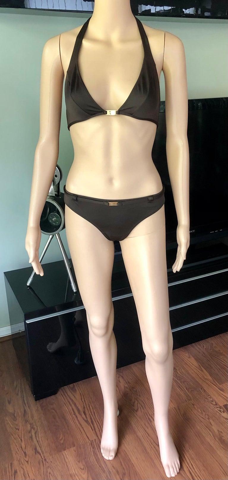 Women's Dolce & Gabbana Logo Embellished Belted Brown Bikini Swimwear Swimsuit 2 Piece For Sale