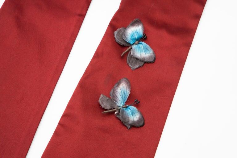Women's Dolce & Gabbana Long Satin Butterfly Appliqué Evening Gloves, Spring 1998