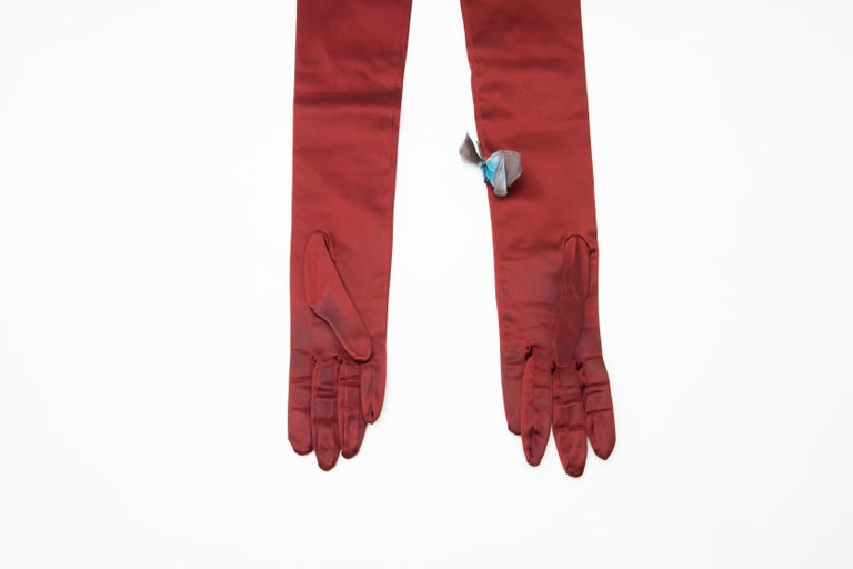 Dolce & Gabbana Long Satin Butterfly Appliqué Evening Gloves, Spring 1998 2