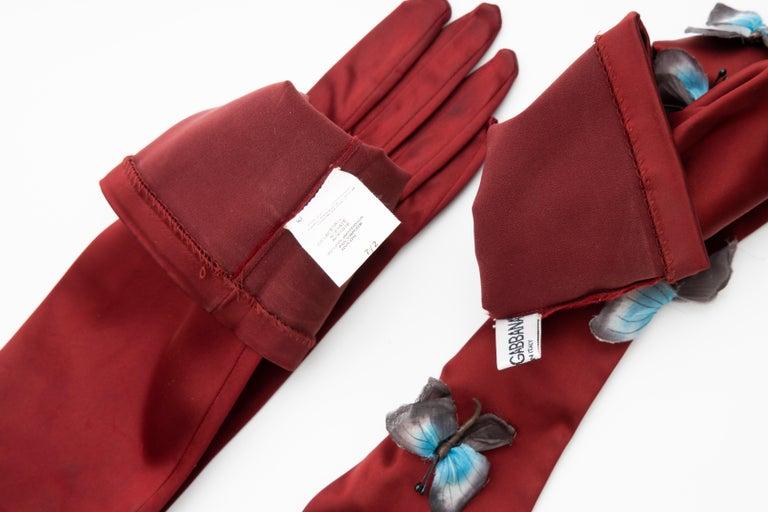 Dolce & Gabbana Long Satin Butterfly Appliqué Evening Gloves, Spring 1998 3