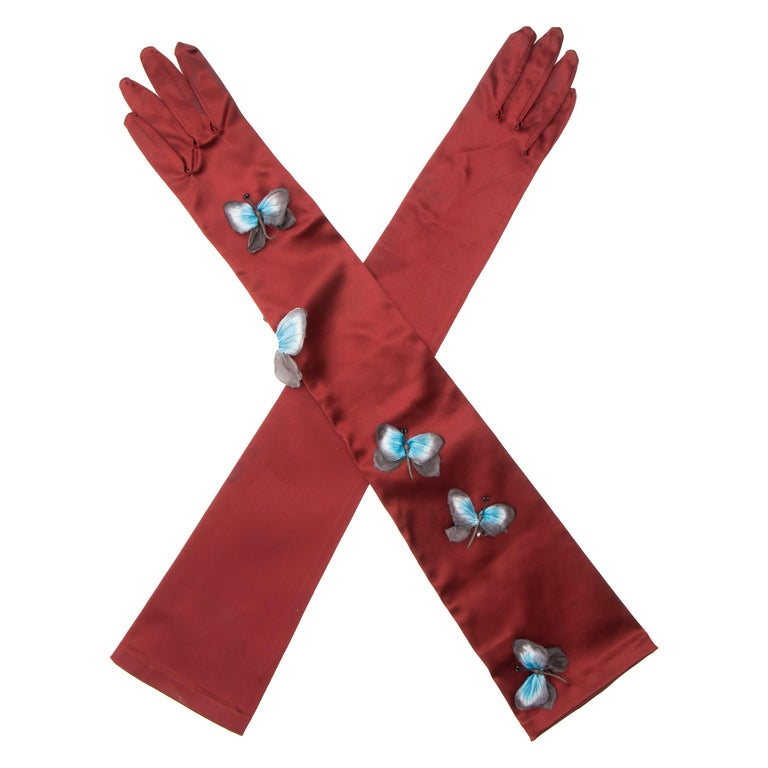 Dolce & Gabbana Long Satin Butterfly Appliqué Evening Gloves, Spring 1998