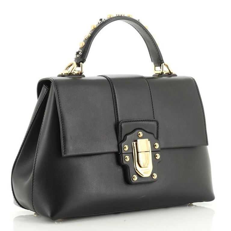Dolce & Gabbana Lucia Top Handle Bag Leather Medium  In Good Condition For Sale In New York, NY