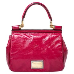 Dolce & Gabbana Magenta Glossy Leather Miss Sicily Top Handle Bag