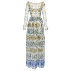 Dolce & Gabbana  Maiolica Ceramic Print Chiffon Gown IT 44 US 8