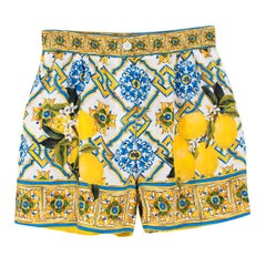 Dolce & Gabbana Majolica & Lemon-print Silk Shorts IT 40