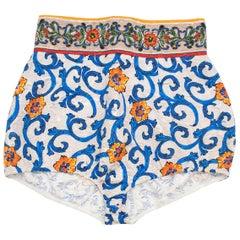 Dolce & Gabbana Majolica Print High Waisted Shorts 40 IT