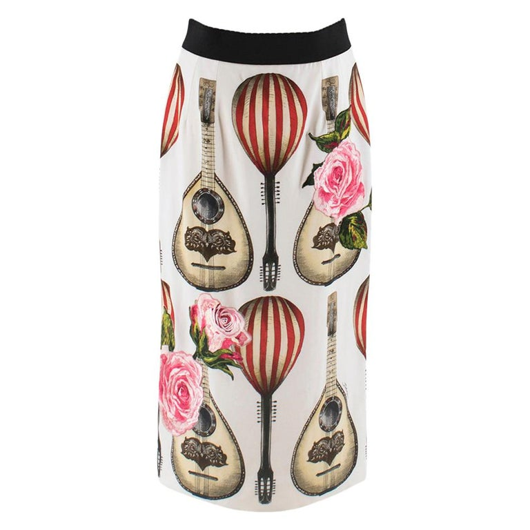 Dolce & Gabbana Mandolin Print Pencil Skirt 42 IT For Sale