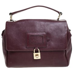Dolce & Gabbana Maroon Leather Miss Dolce Top Handle Bag