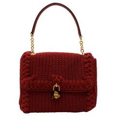 Dolce & Gabbana Maroon Woven Crochet Handbag 30cm