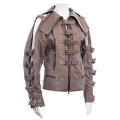 Dolce & Gabbana mauve leather buckled bondage jacket, ss 2003