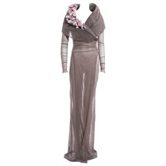 Dolce & Gabbana mauve mesh evening coat dress with floral motifs, ss 1998
