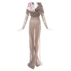 Dolce & Gabbana mauve mesh maxi coat dress with floral motifs, ss 1998