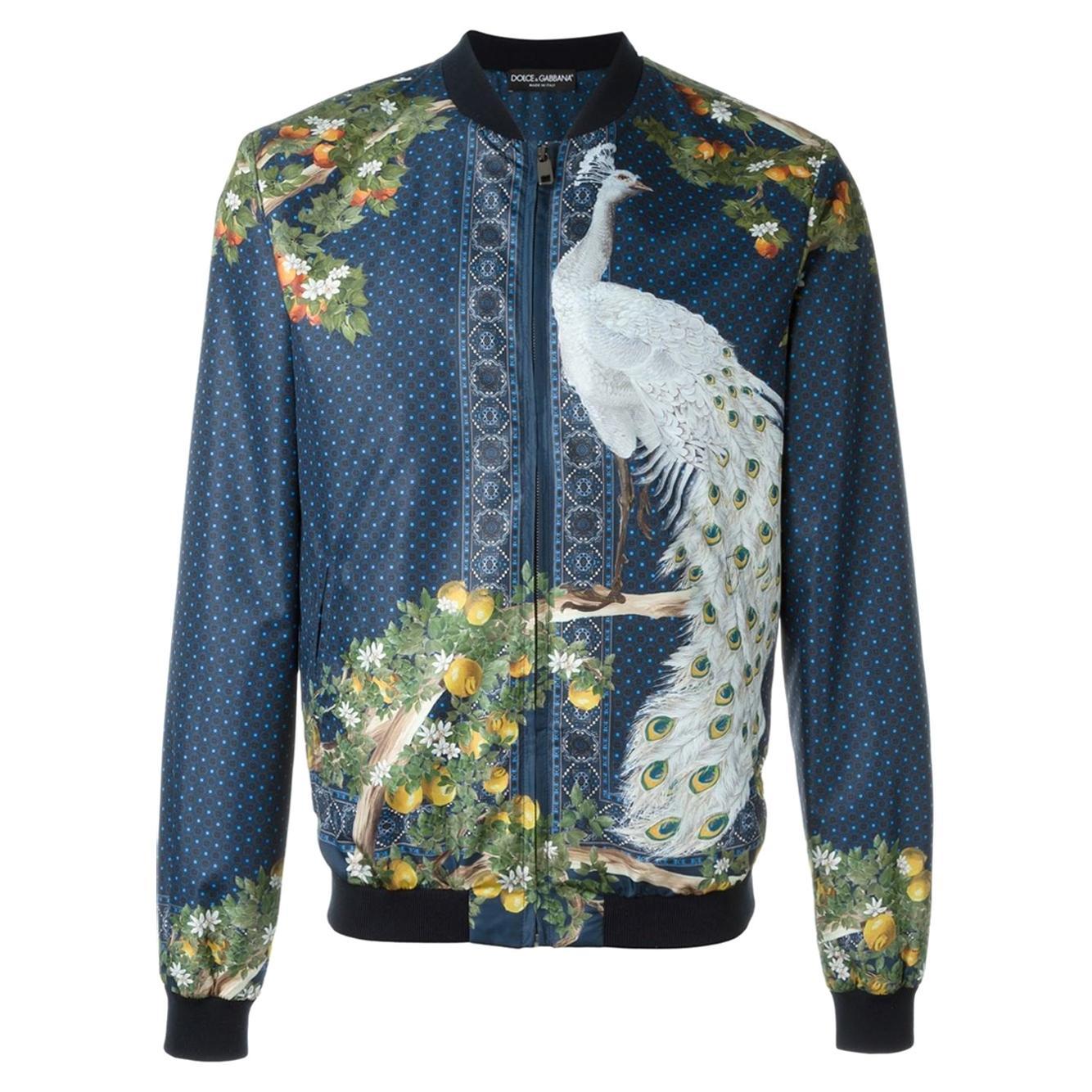 Dolce & Gabbana Men's Blue Peacock Print 100% Silk Bomber Jacket
