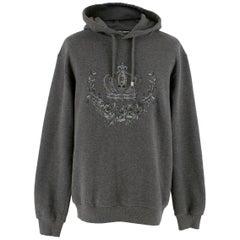 Dolce & Gabbana Men's Grey Crown Embroidered Hoodie Size 46