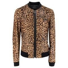 Dolce & Gabbana Men's Leopard Print Calf Hair Bomber Jacket SIZE 46