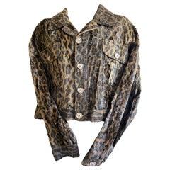 Dolce & Gabbana Men's Vintage Plush Faux Fur Leopard Print Trucker Jacket