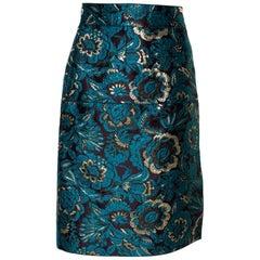 Dolce & Gabbana Metallic Blue/Gold Jacquard A-Line Skirt M