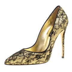 Dolce & Gabbana Metallic Gold Glitter and Black Lace Pointed Toe Pumps Size 36