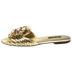 Dolce & Gabbana Metallic Gold Leather Crystal Embellished Flat Slides Size 36