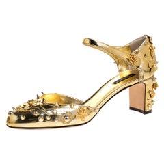 Dolce & Gabbana Metallic Gold Leather Embellished Ankle Strap Sandals Size 40