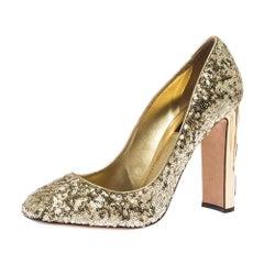 Dolce & Gabbana Metallic Gold Sequin Crystal Studded Heel Pumps Size 40