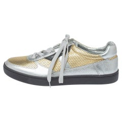 Dolce & Gabbana Metallic Gold/Silver Perforated Leather Low Top Sneakers Size 42