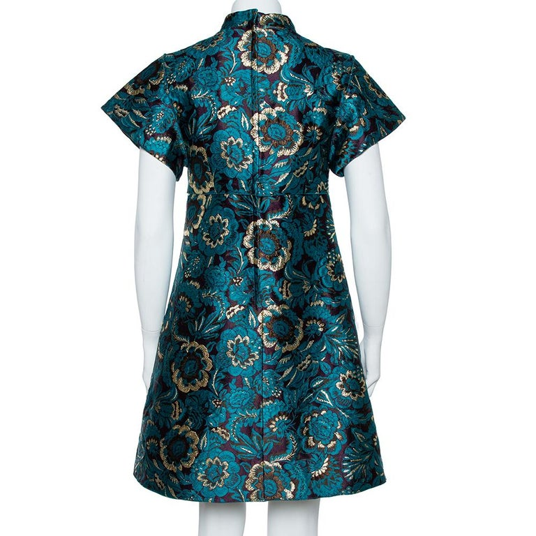 Dolce & Gabbana Metallic Green Jacquard Embellished Midi Dress M In New Condition In Dubai, Al Qouz 2