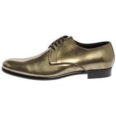 Dolce & Gabbana Metallic Green Patent Leather Oxfords Size 43